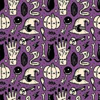 halloween naadloze patroon in paars, beige en zwart