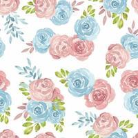 blauw roze aquarel naadloze patroon met rozen vector