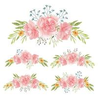 aquarel handgeschilderde anjer bloemboeketten
