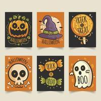 griezelige schattige hand getrokken halloween-kaarten