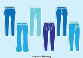 Blauwe Jeans Collectie Vector