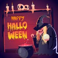 gelukkige halloween-kaart met heks en ketel