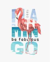 flamingo is een fantastische slogan met flamingo op het strand