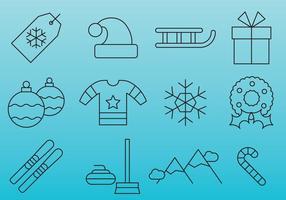 Blauwe kerstlijn iconen