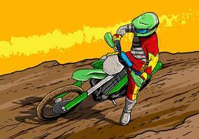 Motorfietsrijder van vuil fietsen