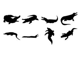 Gratis Alligator Silhouetten Vector