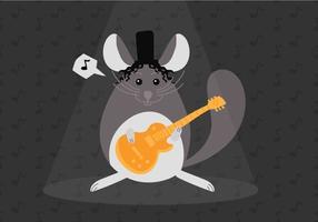 Rocka en Roll Chinchilla Vector Illustratie