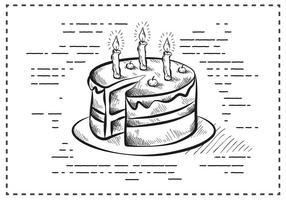 Gratis Vintage Handgetekende Verjaardagstaart Achtergrond vector