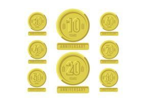 Verjaardag gouden pleister met linten vector