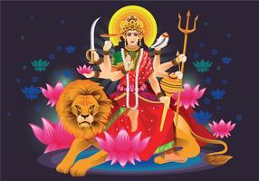 Vectorillustratie van Godin Durga in Subho Bijoya vector