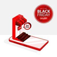 zwarte vrijdagbanner met rode smartphonewinkel vector