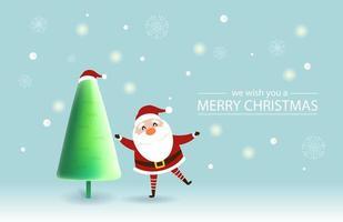kerst ontwerp met schattige kerstman en kerstboom
