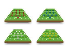 voetbalopstelling en tactiek op perspectiefveld vector