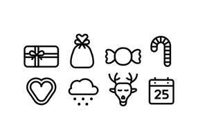 Kerstlijn Icons vector