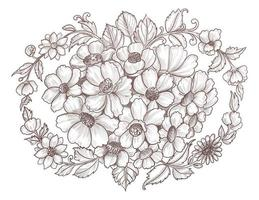 hand getrokken bloemenschetsontwerp