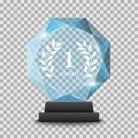 realistische glazen trofee-onderscheiding vector