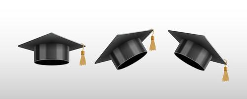 realistische zwarte petten van de universiteit of hogeschool vector