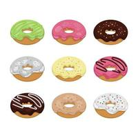 set van kleurrijke smakelijke donuts vector