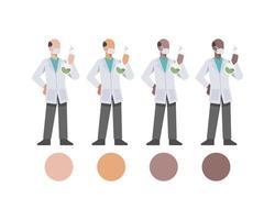 oudere mannelijke dokterskarakters die laboratoriumfles houden