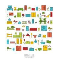 kleurrijke meubels plat pictogrammen