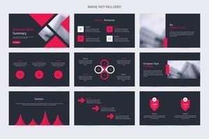minimalistische grijze en rode diapresentatie van het bedrijf