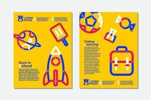 terug naar school, online leren gele flyer set