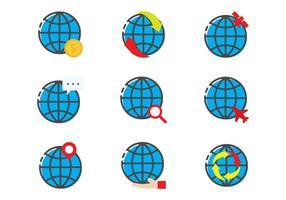 Globus Lineair Pictogram vector