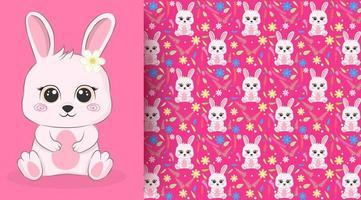 konijn met veldboeket patroon op roze vector