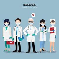 professionele artsen en verpleegsters die medische maskers dragen