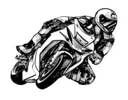 tekening van de motorrijder geïsoleerde hand getekend