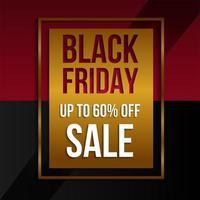 zwarte vrijdag verkoop gouden, rode en zwarte promobanner