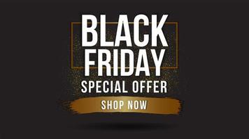 zwarte vrijdag verkoop banner met gouden details