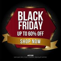 zwarte vrijdag verkoop banner zeshoek en sjabloon voor spandoek