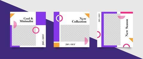 trendy bewerkbare paarse sjabloon voor sociale media