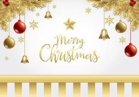 Kerstmis Gouden Achtergrond Gratis Vector