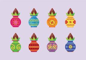 Set Vector Illustratie Kalash Met Kokosnoot En Mango Leaf