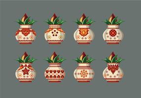 Set Vector illustratie van Kalash Met Kokosnoot En Mango Leaf