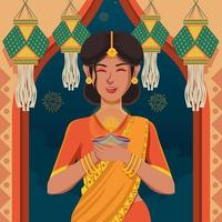 vrouwen in sari vieren prachtig diwali-festival