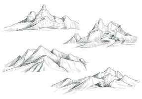 hand tekenen berglandschap decorontwerp schets vector