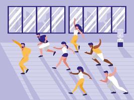 mensen doen aerobics avatar karakter