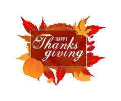 kalligrafietekst van gelukkige dankzegging vector