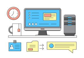 Computing office icons vector