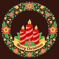 kerstkrans met kaars illustratie