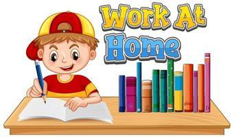 een jongen die thuis studeert