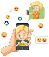 kinderen in een videogesprek via smartphone