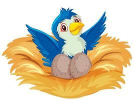 blauwe vogel op het nest met eieren vector