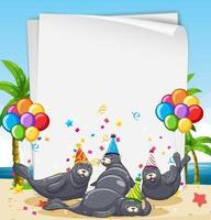 zeehonden feestende kaart of sjabloon voor spandoek