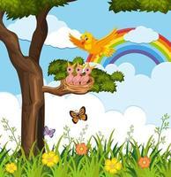 vogels buiten met regenboog