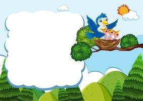 hatchling vogels ontwerp met lege banner