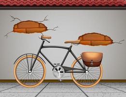 vintage fiets tegen de muur vector